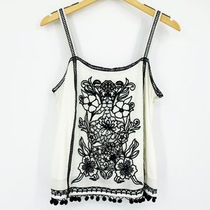 Akemi + Kin Embroidered Floral Cut-Out Tank Top